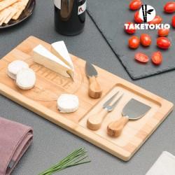 Tabla Bambú con Cuchillos para Quesos