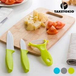 Cuchillos Cerámicos con Tabla de Bambú