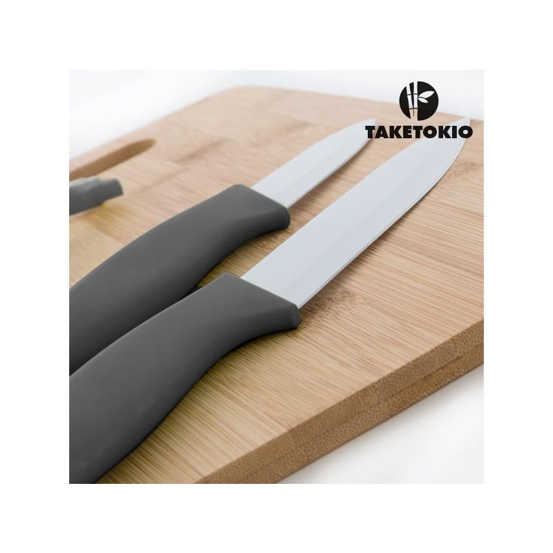 Cuchillos cer micos con tabla de bamb - Tabla de cuchillos ...